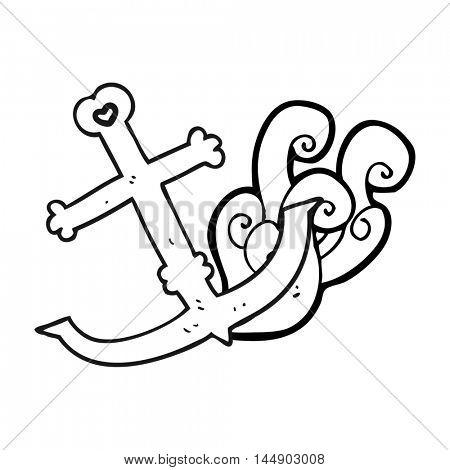 freehand drawn black and white cartoon anchor
