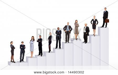 Business People-Team und Diagramm. isolated over white background
