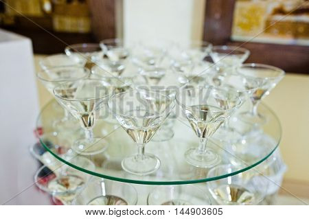 Glasses With White Vermouth On Wedding Reception