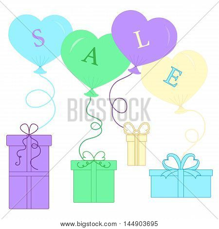 Cute Picture With Presents And Gift Boxes With Balloon And Text Sale.