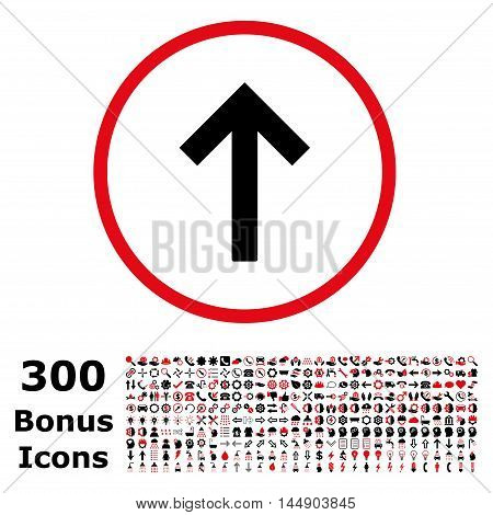 Up Arrow rounded icon with 300 bonus icons. Glyph illustration style is flat iconic bicolor symbols, intensive red and black colors, white background.