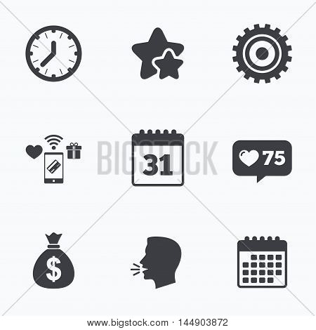 Business icons. Calendar and mechanical clock signs. Dollar money bag and gear symbols. Flat talking head, calendar icons. Stars, like counter icons. Vector