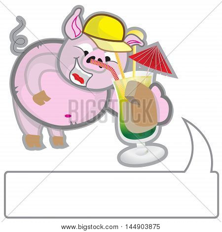 This file represents a summer pig while handing a cocktail with a space to write a message.