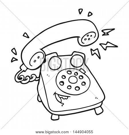 freehand drawn black and white cartoon ringing telephone