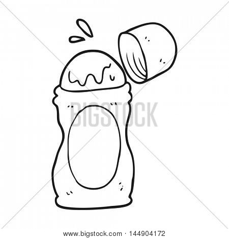 freehand drawn black and white cartoon roll on deodorant