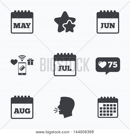 Calendar icons. May, June, July and August month symbols. Date or event reminder sign. Flat talking head, calendar icons. Stars, like counter icons. Vector