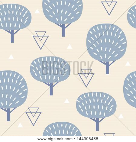 Seamless pattern in modern Scandinavian style. geometry background of north nature.