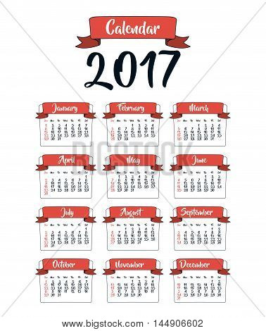 2017 year ribbon calendar planner month day icon. Colorful and Flat design. Vector illustration