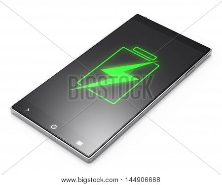 Illustration of Black 3D smartphone with battery screen on white background