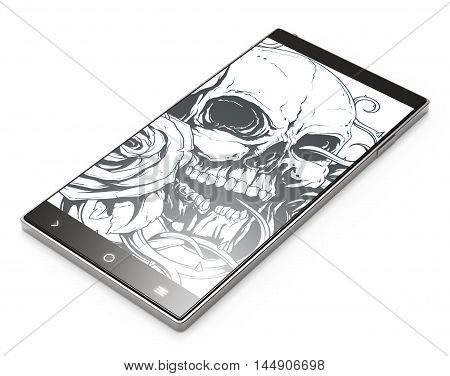 Illustration of Black 3D smartphone with tattoo skull on white background