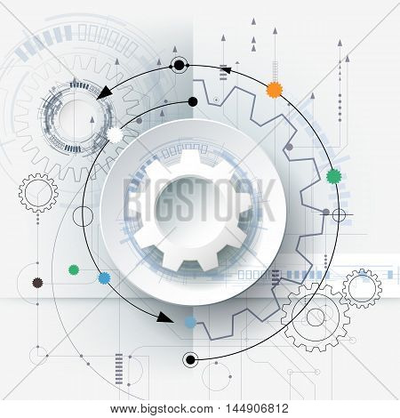 Vector futuristic technology 3d white paper gear wheel on circuit board. Illustration hi-tech engineering digital telecoms concept. With space for content, web- template, business, tech, presentation