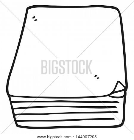 freehand drawn black and white cartoon stack of paper