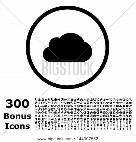 Cloud rounded icon with 300 bonus icons. Glyph illustration style is flat iconic symbols, black color, white background.