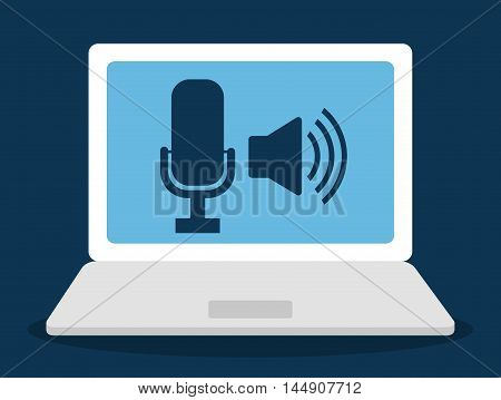 microphonelaptop  gadget tool music sound voice con. Flat design. Vector illustration