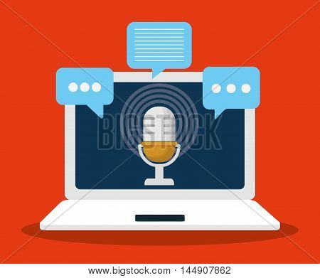 microphone bubble laptop gadget tool music sound voice con. Flat design. Vector illustration
