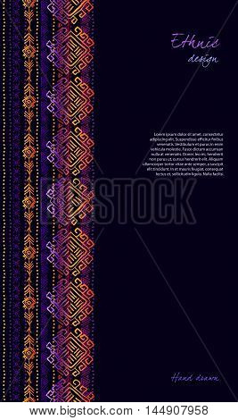 Dark vertical design with tribal ornament ethnic seamless stripe border in black background. Geometric colorful design. Vector illustration stock vector.