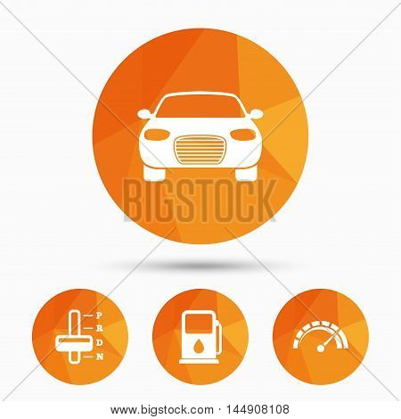 Transport icons. Car tachometer and automatic transmission symbols. Petrol or Gas station sign. Triangular low poly buttons with shadow. Vector