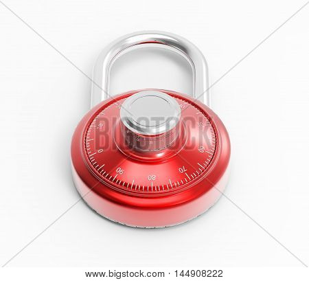 Illustration of Chrome 3D locked combination grey pad lock on a white background