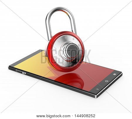 Illustration of Red 3D pad lock on black smartphone