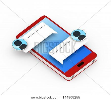 Illustration of Red 3D smartphone with massage icons on white background