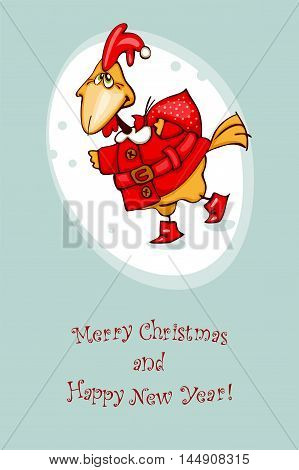 New Year's greeting postcard. Vector illustration of red rooster symbol of 2017 on the Chinese zodiac calendar.