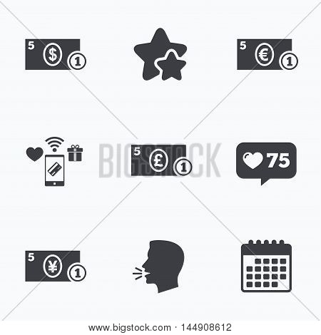 Businessman case icons. Dollar, yen, euro and pound currency sign symbols. Flat talking head, calendar icons. Stars, like counter icons. Vector