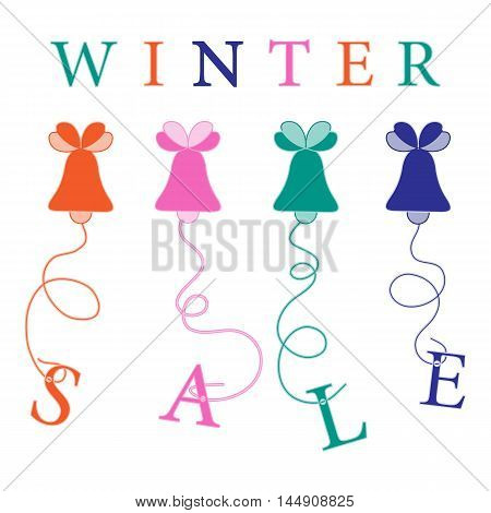 Cute Picture With Christmas Bells Hanging On The Ropes With The Inscription Sale.