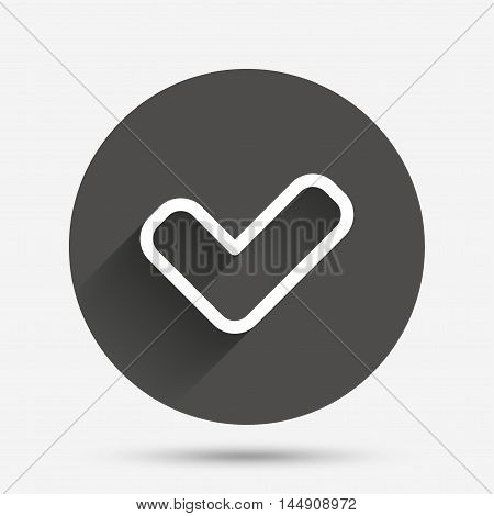 Check sign icon. Yes button. Circle flat button with shadow. Vector