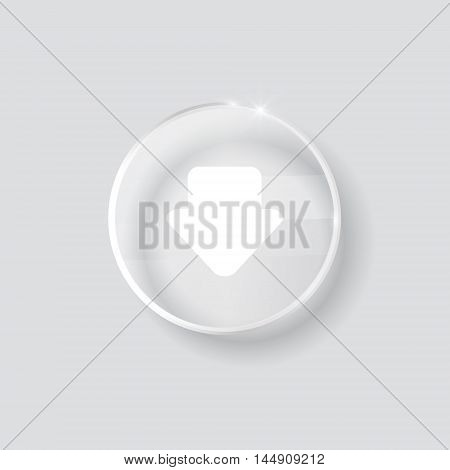 download sign icon. round transparent button isolated on white background. glass surface. arrow down