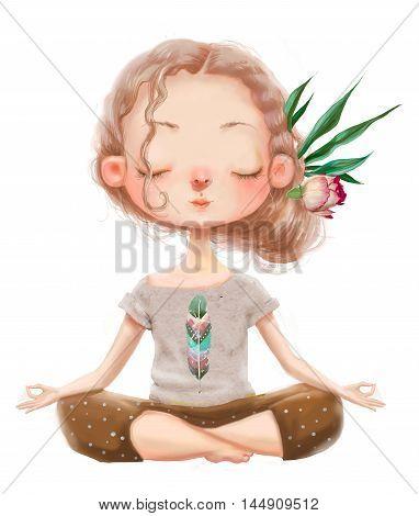 cute cartoon girl in yoga lotus pose