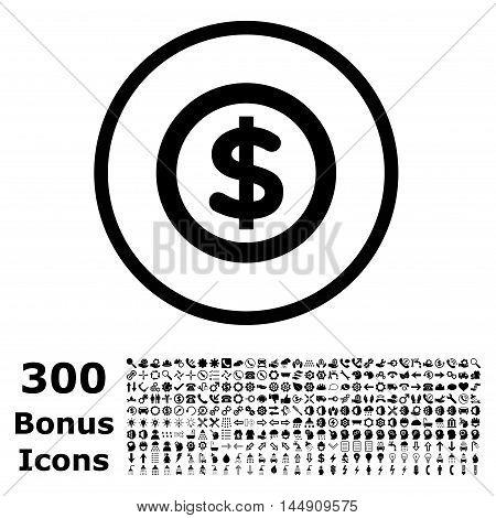 Finance rounded icon with 300 bonus icons. Glyph illustration style is flat iconic symbols, black color, white background.