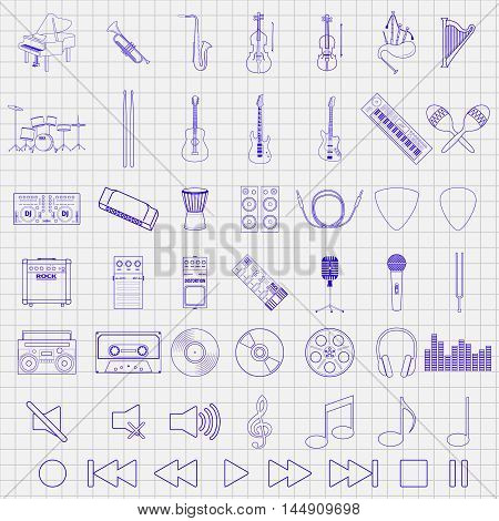 Musical instrument set, hand drawn icons, vector illustration