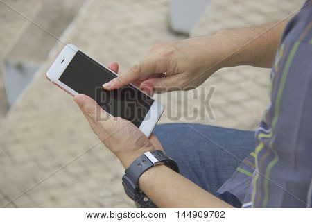 Man playing telephone with selective and soft focus. Business dealings are With telephone