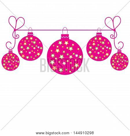 Vector Picture With Christmas Ball With Stars Hanging On A Rope.