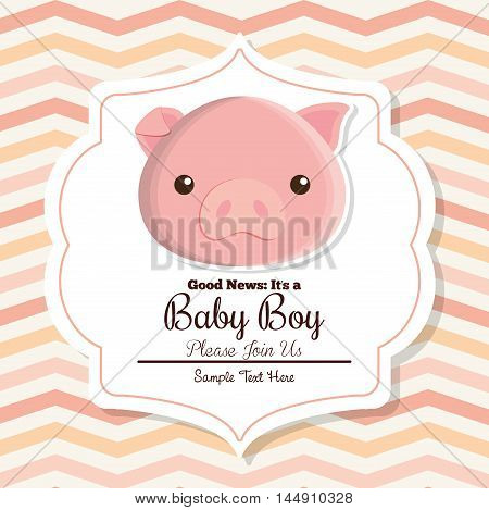 pig animal cartoon baby shower card celebration party icon. Colorful and flat design. Vector illustration