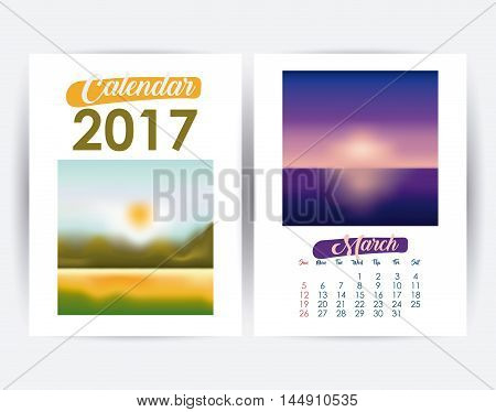2017 march year frame landscape picture photo calendar planner month day icon. Colorful and Flat design. Vector illustration