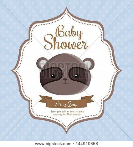 spectacled bear animal cartoon baby shower card celebration party icon. Colorful and flat design. Vector illustration