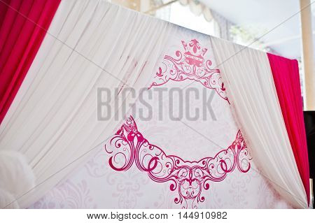 Pink And White Texture On Wedding Photo Banner