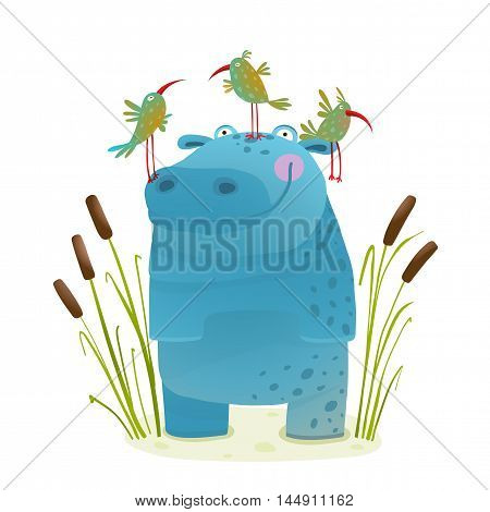 Happy hippopotamus watercolor style animal in the wil. Behemoth for children cartoon illustration. Vector drawing.