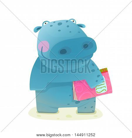 Happy fun watercolor style animal going to school cartoon illustration. Vector drawing.