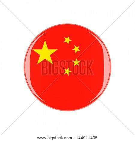china 3d button isolated on white background