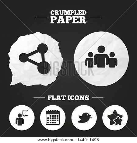 Crumpled paper speech bubble. Group of people and share icons. Speech bubble symbols. Communication signs. Paper button. Vector