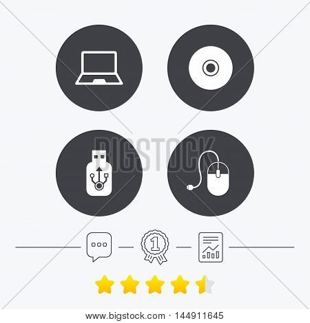 Notebook pc and Usb flash drive stick icons. Computer mouse and CD or DVD sign symbols. Chat, award medal and report linear icons. Star vote ranking. Vector