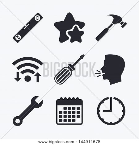 Screwdriver and wrench key tool icons. Bubble level and hammer sign symbols. Wifi internet, favorite stars, calendar and clock. Talking head. Vector