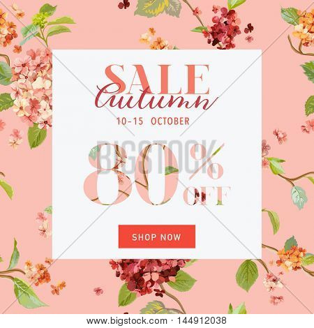 Autumn Sale Floral Hortensia Banner - for Discount Poster, Fashion Sale, Market Offer - in vector