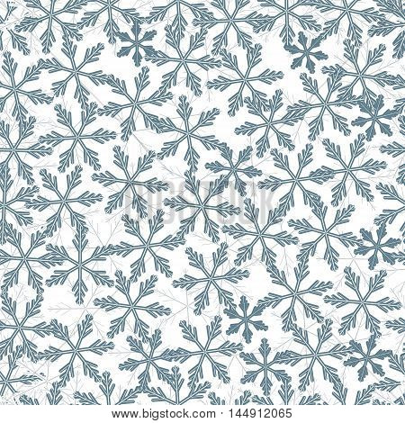 Winter Pattern With Variety Of Snowflakes.