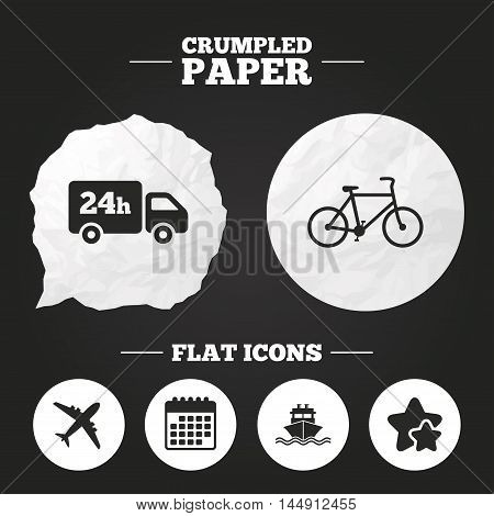 Crumpled paper speech bubble. Cargo truck and shipping icons. Shipping and eco bicycle delivery signs. Transport symbols. 24h service. Paper button. Vector