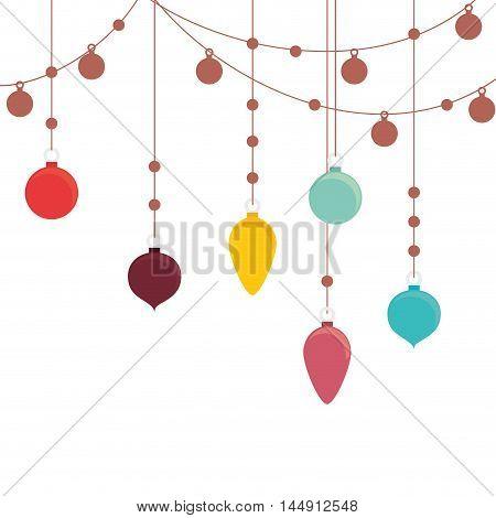 balls hanging ornament christmas season decoration colorful vector illustration