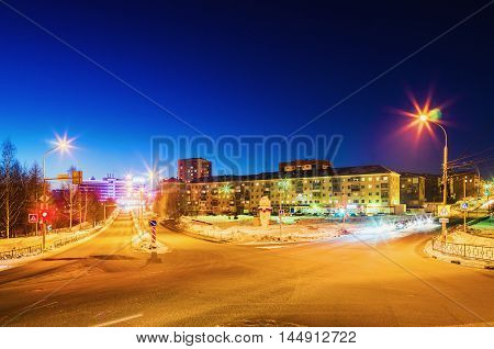 NIZHNY TAGIL RUSSIA - FEBRUARY 13 2016: intersection of roads in the winter in the dark