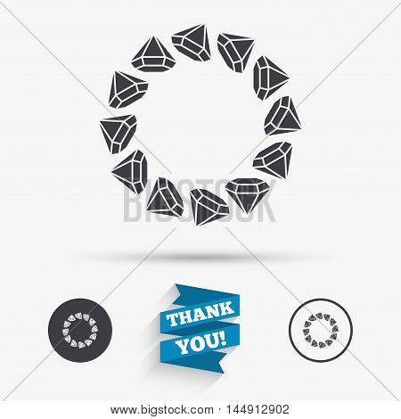 Jewelry sign icon. Diamonds circle symbol. Flat icons. Buttons with icons. Thank you ribbon. Vector